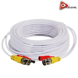 AceLevel Premium 100ft Video/Power BNC RCA Cable (White) CCTV Cable, Cable for CCTV Security Cameras, Siamese Cable, Video and Power Cable,