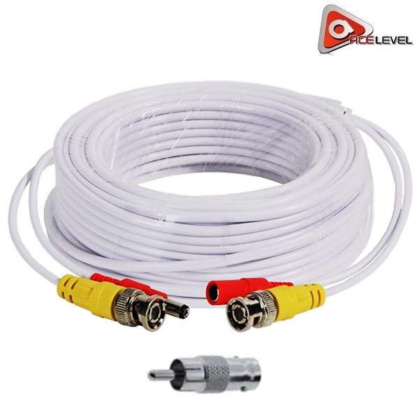 Acelevel Premium 60ft Video/Power BNC RCA Cable for Surveillance Cameras (White)