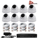 AceLevel 8 Channel HD AHD DVR Kit with 8 x 1080P Night Vision Weatherproof Dome Cameras and 1TB - SET-DVR-8CH3-TYA-8D2
